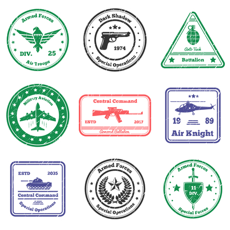 Military grunge stamps collection of nine flat postal stamps with text captions signs and weapon symbols vector illustration