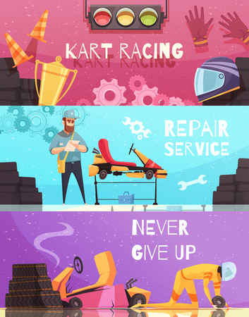 Horizontal banners set with kart racing apparel and repair service cartoon isolated vector illustration Иллюстрация
