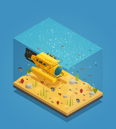 Bathyscaphe deep sea exploration submergence vehicle on sandy ocean bottom with seaweeds isometric composition vector illustration