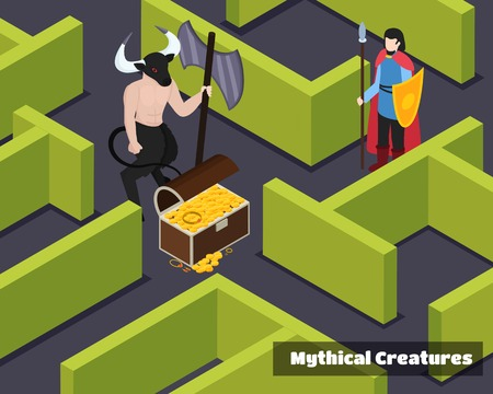 Mythical creatures isometric composition with monster protector of treasure and armed warrior at green labyrinth. Vector illustration. Illusztráció
