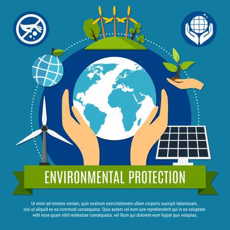 Ecology and pollution concept with globe and nature symbols flat vector illustration