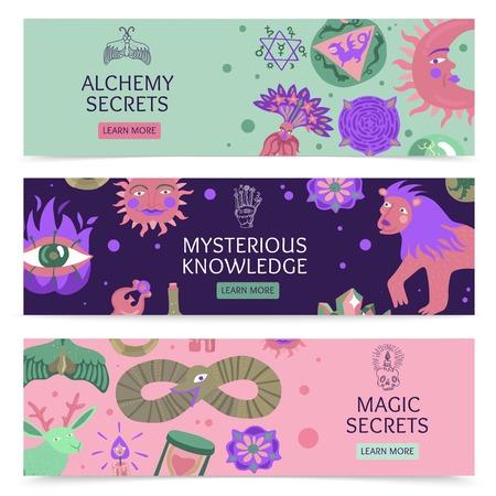 Secrets de magie et d'alchimie et connaissances mystérieuses. Bannières horizontales avec symboles sacrés et signes mystiques, illustration vectorielle plane.