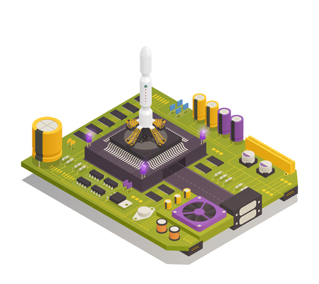 Semiconductor electronic components assembled on printed circuit board as space rocket launching complex. Isometric composition vector illustration.