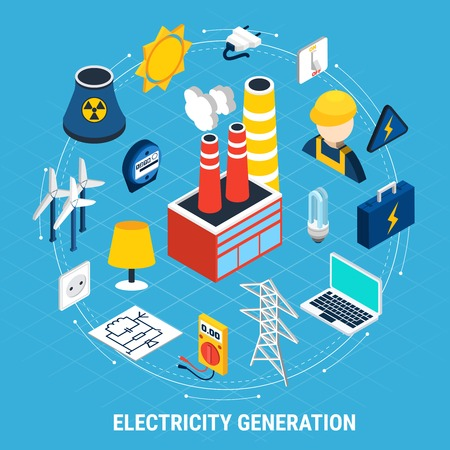 Electricity isometric and round composition with isolated colored elements arranged in a circle vector illustration