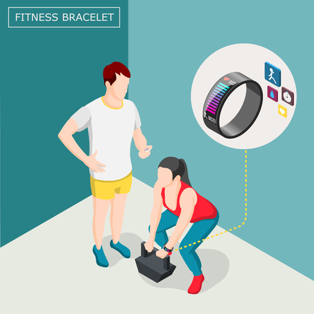 Isometric background with woman athlete in fitness bracelet during weightlifting workout with trainer vector illustration Illustration