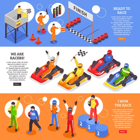 Isometric carting horizontal banners set with human characters of cart racers with carts helmets and course vector illustration.