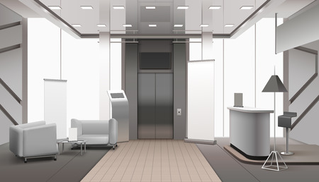Realistic grey color lobby interior with lift, reception counter, waiting area, tiled and carpet floor vector illustration Illustration