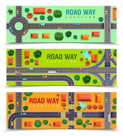 Set of horizontal banners with roadway including crossroads, junctions, vehicles, buildings on color background. Isolated vector illustration.