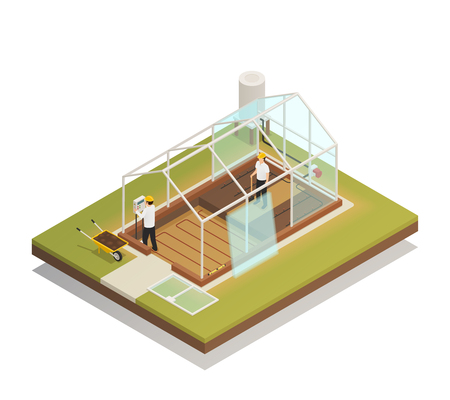 Greenhouse cable-supported facility construction process isometric composition with 2 workers installing glass panels vector illustration