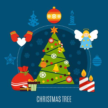 Albero di Natale con la composizione piana nella stella, nelle bagattelle, nelle luci, nelle candele e nei regali sull'illustrazione blu scuro di vettore del fondo Archivio Fotografico - 96847035