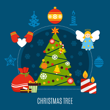 Christmas tree with star, baubles, lights, candles and gifts flat composition on dark blue background vector illustration