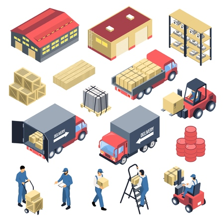 Warehouse set of isometric icons Иллюстрация