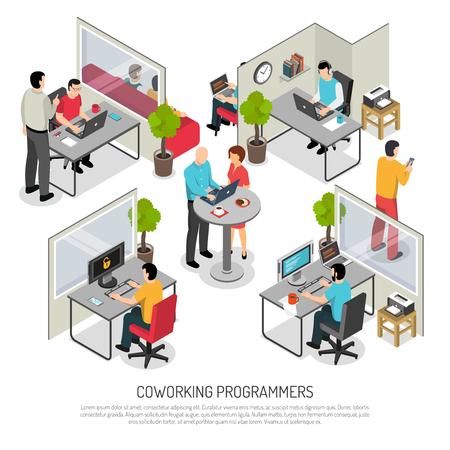 Biuro programistów komputerowych, rozwiązanie coworkingowe ze wspólną i indywidualną przestrzenią do pracy. Ilustracja wektorowa skład izometryczny.