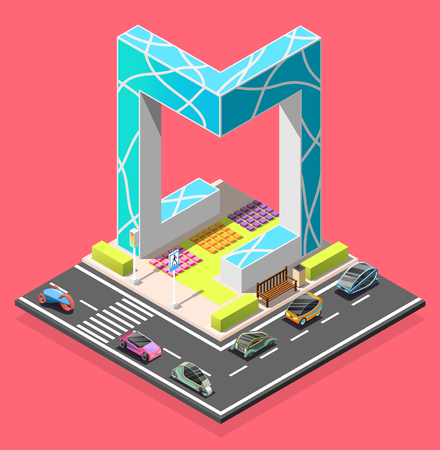 City constructor isometric element with road pedestrian crossing futuristic cars and abstract architecture vector illustration. Ilustracja