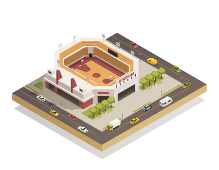 Basketball arena sport center competitions stadium with outdoor area and adjacent streets isometric composition vector illustration.