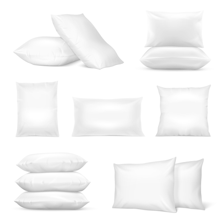 Realistic white square and rectangular pillows set with natural and synthetic cotton mix fiberfill isolated vector illustration.