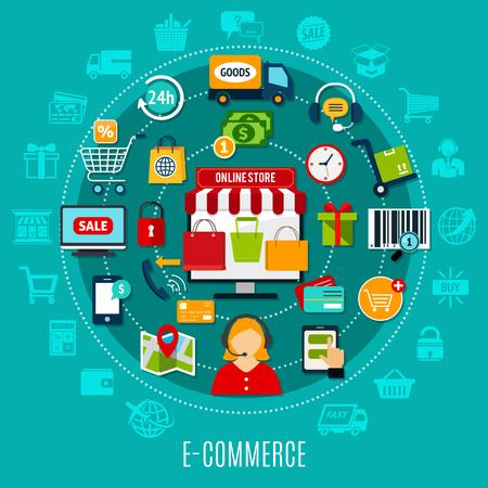 Flaches Konzept des E-Commerce mit Internet-Einkaufselementen um Onlineshopikone auf Türkishintergrund-Vektorillustration Standard-Bild - 96838646