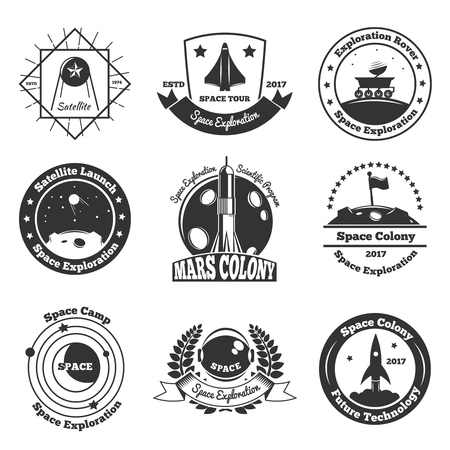 Space exploration emblems collection of nine isolated images with stars decorative images and text captions vector illustration. Ilustrace