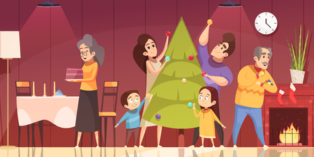 Family decorating fir tree and preparing to celebrate Christmas at home cartoon vector illustration. Ilustrace