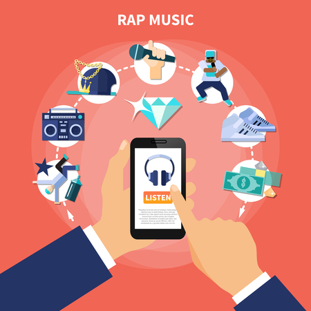 Rap music listening on smartphone flat composition with accessories of rapper on red background. Vector illustration.
