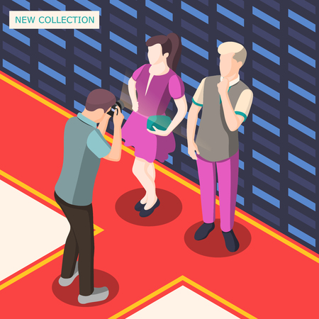 Photo shooting for presentation of fashion clothing collection isometric background with models and photographer vector illustration. Stock Vector - 97731011