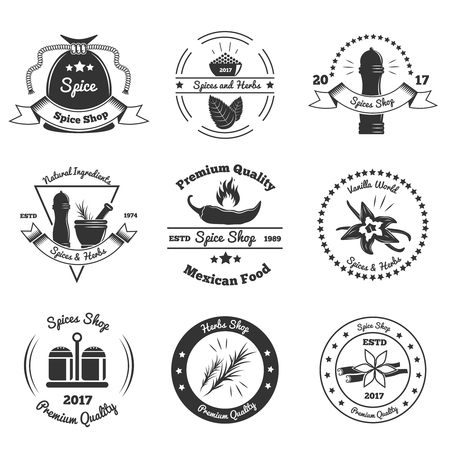 Monochrome emblems of shops with spices and herbs, culinary utensils, design elements isolated vector illustration