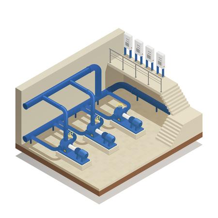 Composición isométrica del elemento de instalación de purificación y limpieza de agua con ilustración de vector de equipo de sistema de bomba de planta de tratamiento.