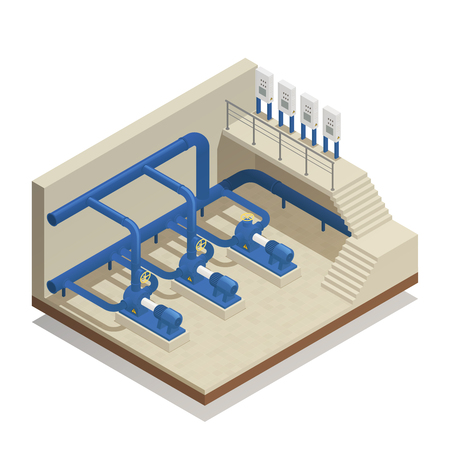 Isometrische Zusammensetzung des Wasseraufbereitungs- und Reinigungsanlagenelements mit Klärwerkspumpensystem-Ausrüstungsvektorillustration.