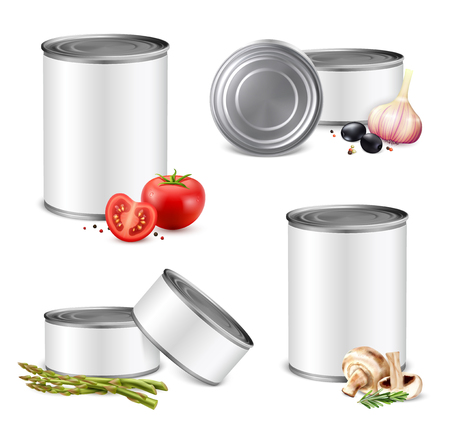 3d can mockup vegetables set of isolated preserve tin images with no branding and vegetable pieces vector illustration