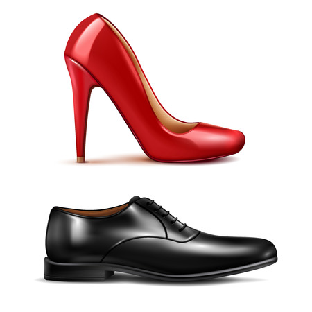 Shoes realistic set with men and women shoes isolated vector illustration.