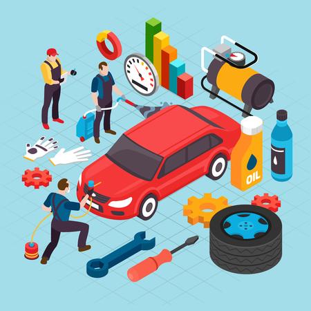 Auto service isometric concept with maintenance and repair symbols vector illustration. Çizim