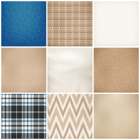 Realistic textile 9 samples collection square of various fibers weave texture color pattern fabrics isolated vector illustration Illustration