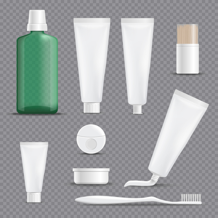 Set of realistic dentifrices with floss, toothpicks, rinse, toothbrush isolated on transparent background vector illustration