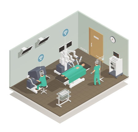 Modern and future medical technologies isometric composition with advanced robotic surgeons assisting operating room vector illustration