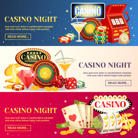 Night casino three horizontal banners with roulette cards chips jackpot dice cocktail elements flat cartoon vector illustration