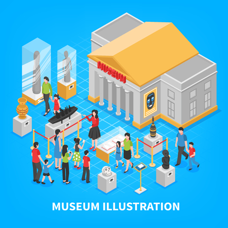 Isometric museum composition with building outside, historical exposition, visitors adults and kids on blue background vector illustration.