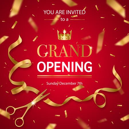 Einladungskartenplakat der festlichen Eröffnung mit den realistischen goldenen Scheren, die Hintergrund des Bandes und der Krone rote schneiden, vector Illustration Standard-Bild - 96872625