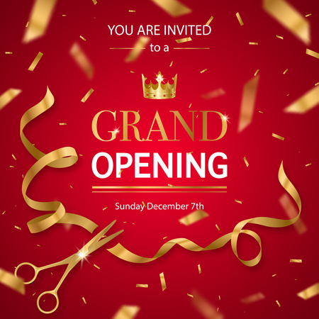Grand opening invitation card poster with realistic golden scissors cutting ribbon and crown red background vector illustration