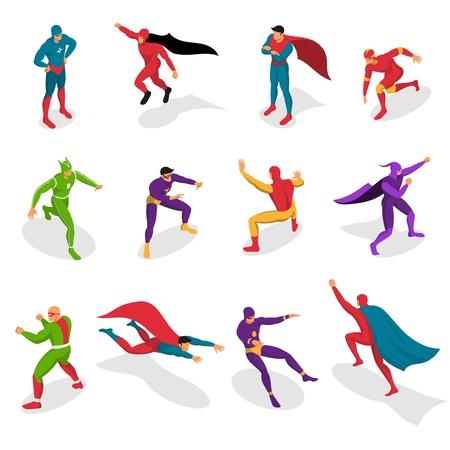 アイソメトリックアイコンの様々なアクションセット中にカラフルな衣装を着たスーパーヒーローは、隔離されたベクトルのイラスト