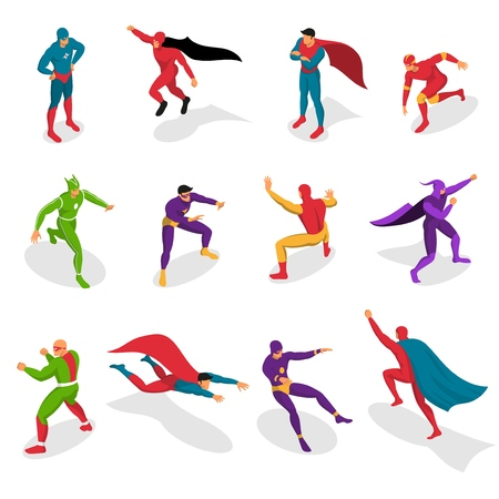 Super heroes in colorful costumes during various actions set of isometric icons isolated vector illustration