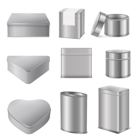 Realistic various shapes tin boxes mockup packaging collection of metal stainless steel triangle heart cylinder vector illustration Illustration