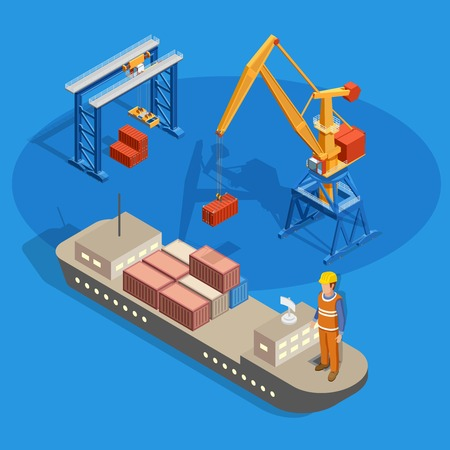 Loading cargo on ship isometric composition on blue background with industrial equipment and worker vector illustration