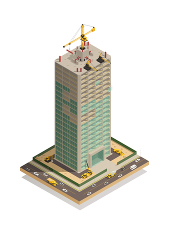 Skyscraper construction site isometric composition  with adjacent busy streets and tower crane competing roofing vector illustration