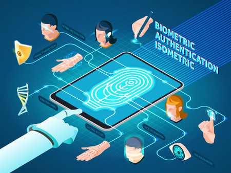 Biometric authentication methods isometric composition  with mobile device fingerprint identification dna match  and facial recognition vector illustration Illustration