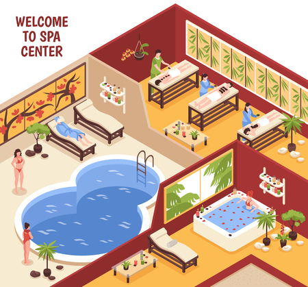 Isometric spa beauty horizontal composition with text and view of day spa with pool and people vector illustration.