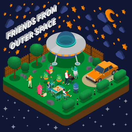 People having picnic with alien characters in yard with spaceship isometric composition 3d vector illustration.