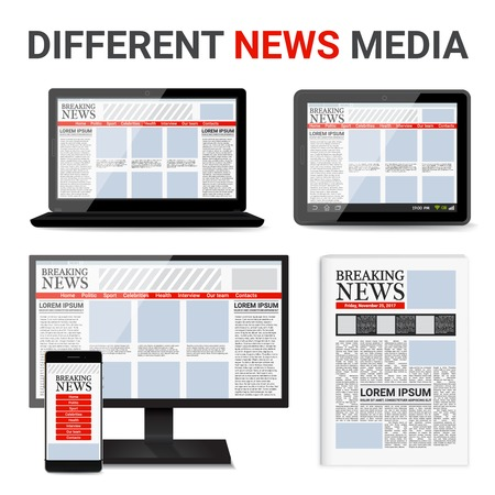 Different news media set with event information on electronic devices screens and in newspaper isolated vector illustration Illustration