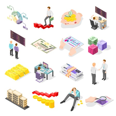 Stock exchange isometric icons with coins gold bars bundles of banknotes stock market price on display isolated vector illustration