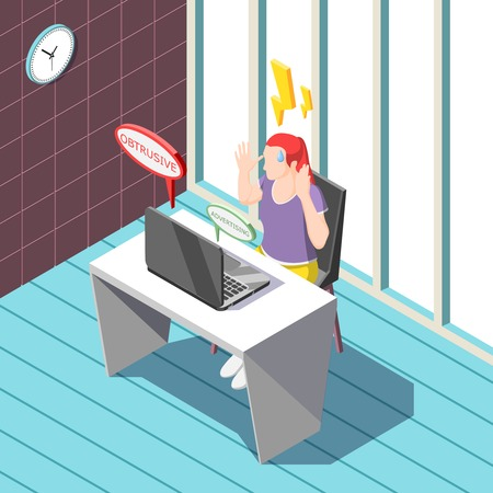 Annoying advertisement isometric background including woman with negative emotions from promotional internet information near laptop vector illustration