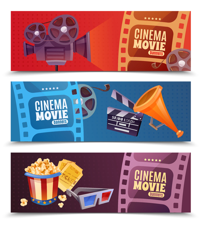 Cinema set of horizontal banners with camera, megaphone and clapper, popcorn, glasses and tickets isolated vector illustration.